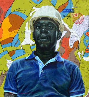 BP2478 Surface technician, 120x110cm, ink, acrylic and posca on canvas by Jean David Nkot young Cameroonian contemporary artist.