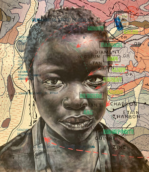 BP.Child of Calabar, 120x110cm, Indian ink, acrylic and posca on canvas by Jean David Nkot young Cameroonian contemporary artist.