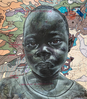 #Wum's child#.org, 120x110cm, Indian ink, acrylic and posca on canvas by Jean David Nkot young Cameroonian contemporary artist.