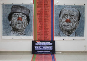 Partnership agreement, art installation by Jean David Nkot including 2 paintings on paper (180x150cm), one 8m tarpaulin carpet and a video. Representing Silvio Berlusconi and Mouhammar Khadafi.