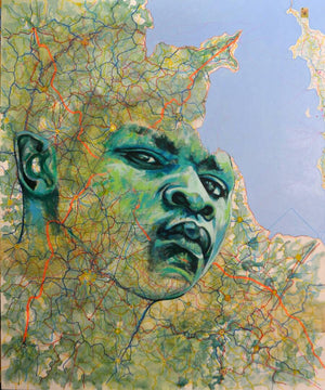 Lampedusa, 145x120, acrylic, Indian ink and silkscreen printing on canvas by Jean-David Nkot young Cameroonian contemporary artist.