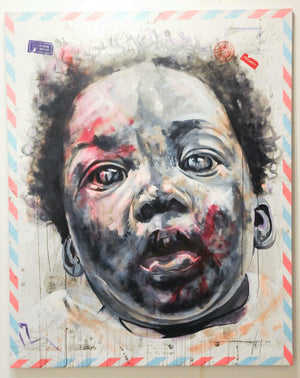 The tortured face 3, 200x160cm, acrylic, Indian ink and silkcreen printing on canvas by Jean-David Nkot young Cameroonian contemporary artist.
