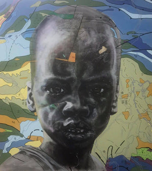 Beyond the look, 140x130cm, Indian ink, acrylic and posca on canvas by Jean-David Nkot young Cameroonian contemporary artist.
