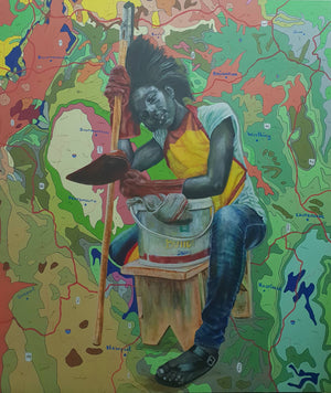 www.DreamAndMirage.com, 160x140cm, Indian ink, acrylic and posca on canvas by Jean David Nkot young Cameroonian contemporary artist.