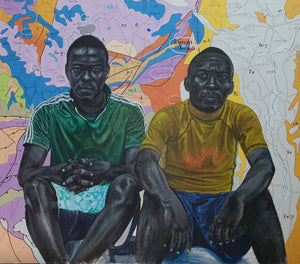 Army's brothers@agadez.com, 140x160cm, Indian ink, acrylic and posca on canvas by Jean David Nkot young Cameroonian contemporary artist.