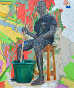 The cleaner@dream.com, 200x170cm, Indian ink, acrylic and posca on canvas by Jean David Nkot young Cameroonian contemporary artist.