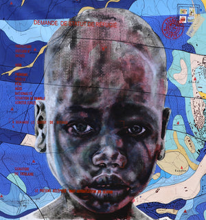 #@zone grise.com, 130x120cm, Indian ink, acrylic, silkscreen printing and posca on linen by Jean David Nkot young Cameroonian contemporary artist.