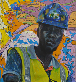 #Surface technician@.org, 120x110cm, ink, acrylic and posca on canvas by Jean David Nkot young Cameroonian contemporary artist.