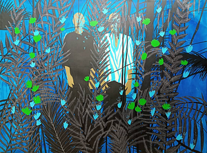 The Jungle, by Moustapha Baidi Oumarou. Cameroonian contemporary artist. 180x250cm acrylic and ink on canvas.