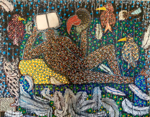 Le monde cherche un futur, 160x200cm, acrylic on canvas by Ousmane Niang young Senegalese contemporary artist.