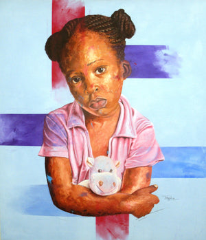 La fille au Nounours, Marcel Tchopwe (Cameroon). 150x120cm, acrylic on canvas. Artwork available on Afikaris.