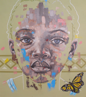Butterfly out of the eyes, by Marcel Tchopwe (Cameroon). 110x100cm, acrylic on canvas. Available on Afikaris.