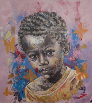 Un instant, by Marcel Tchopwe (Cameroon). 110x100cm, acrylic on canvas. Available on Afikaris.
