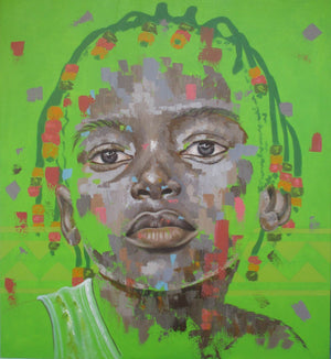 Tenderly, by Marcel Tchopwe (Cameroon). 110x100cm, acrylic painting on canvas. Available on Afikaris.