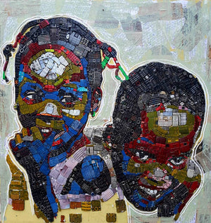 Complicity, 100x100cm. Recycled old phone keyboards and acrylic on jean fabric. Made by the Ivorian contemporary young artist Mounou Desire Koffi.