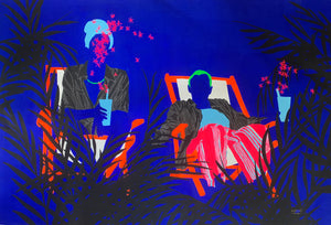 Cocktails d'amour, a painting showing two people on their deckchair on a blue background, by Moustapha Baidi Oumarou. Cameroonian contemporary artist.
