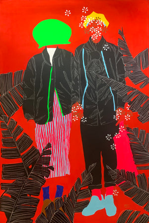 Conditionnement a painting showing a couple on a red background with a green pot on the head by Moustapha Baidi Oumarou. Cameroonian contemporary artist.  Edit alt text