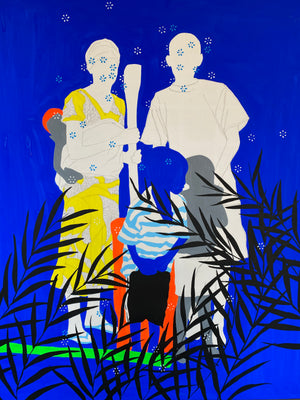 Famille parfaite by Moustapha Baidi Oumarou. Cameroonian contemporary artist. 180x120cm acrylic and posca on canvas.