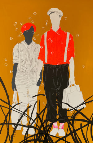 Journée shopping by Moustapha Baidi Oumarou. Cameroonian contemporary artist. 150x100cm acrylic and ink on canvas.