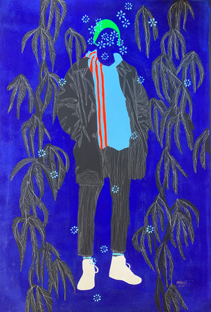 Monde en bleu a painting showing a man on a blue background with flowers by Moustapha Baidi Oumarou. Cameroonian contemporary artist. 150x100cm acrylic and ink on canvas.
