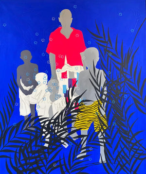 Cliché de famille by Moustapha Baidi Oumarou. Cameroonian contemporary artist. 180x120cm acrylic and posca on canvas.