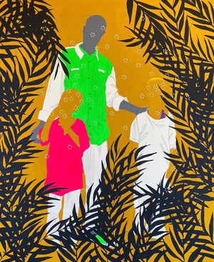 "Cliché 1 from he ""Photo de famille"" series, by Moustapha Baidi Oumarou. Cameroonian contemporary artist. 180x120cm acrylic and posca on canvas."