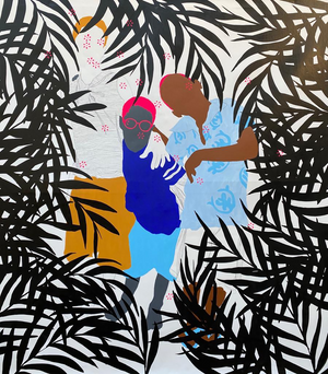Surprise surprise by Moustapha Baidi Oumarou. Cameroonian contemporary artist. 140x130cm acrylic and posca on canvas.