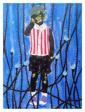 The boy, by Moustapha Baidi Oumarou. Cameroonian contemporary artist. 150x100cm acrylic and ink on canvas.