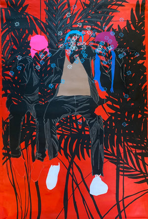 Jeux d'humeur, by Moustapha Baidi Oumarou. Cameroonian contemporary artist. 180x120cm acrylic and ink on canvas.