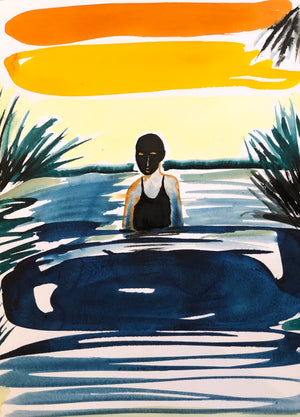 Swimmer 2, 49x37cm, Ink on paper by Omar Mahfoudi, 2020, Moroccan contemporary artist.