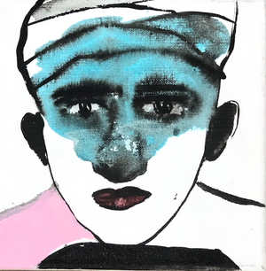 L'homme au turban, 20x20cm, Ink and acrylic on canvas by Omar Mahfoudi, 2020, Moroccan contemporary artist.