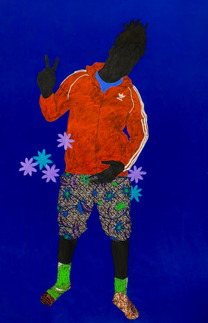 RED 2020, 175x115 cm, Acrylic and African wax print on canvas by Raphael Adjetey Adjei Mayne contemporary artist from Ghana. From the adidas series.