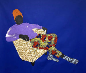 Violeta Cobalto Pullover, 145 x 160 cm, Acrylic and African wax print on canvas by Raphael Adjetey Adjei Mayne contemporary artist from Ghana. From the adidas series.