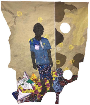 Atta, 150x125cm, African wax print, acrylic, marker and threads on canvas by Raphael Adjetey Adjei Mayne contemporary artist from Ghana.
