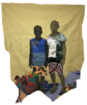 Anum and Sowatey, 150x128cm, African wax print, acrylic, marker and threads on canvas by Raphael Adjetey Adjei Mayne contemporary artist from Ghana.