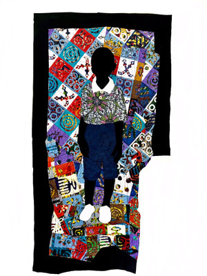 Ready, 137x73cm, African wax print, acrylic, marker and threads on canvas by Raphael Adjetey Adjei Mayne contemporary artist from Ghana.