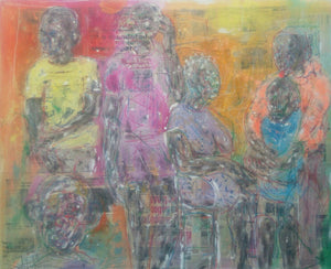 Family meeting. 120x150cm. Acrylic, collage and pastel on canvas by Salifou Lindou contemporary Cameroonian artist. Artwork for sale online.