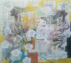 Panicked women. 110x155cm. Acrylic, collage and pastel on canvas by Salifou Lindou, contemporary Cameroonian artist. Purchase art online on Afikaris.