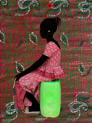I wait Rouge/Green. Hand painted (unique) photography, from The shadowed people series. By Saidou Dicko, contemporary artist from Burkina Faso.