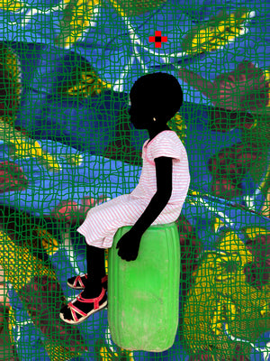 LE BIDON VERT, T FEUILLES JAUNES/GREEN. Hand painted (unique) photography, from The shadowed people series. By Saidou Dicko, contemporary artist from Burkina Faso.