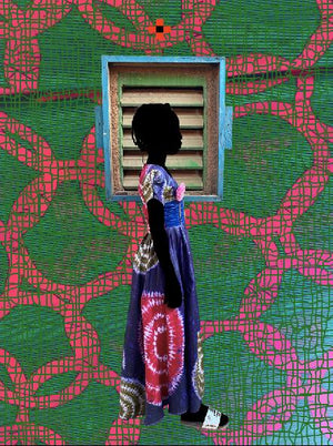 La fenêtre. Hand painted (unique) photography, from The shadowed people series. By Saidou Dicko, contemporary artist from Burkina Faso.