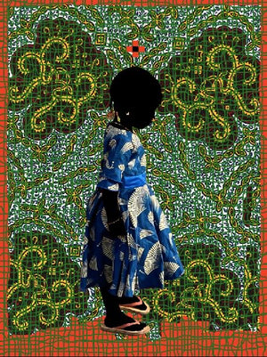 Harigato T chaînes Green. Hand painted (unique) photography, from The shadowed people series. By Saidou Dicko, contemporary artist from Burkina Faso.