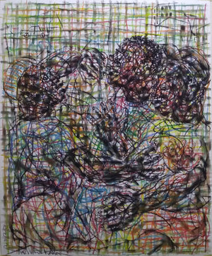 Conversations #1. 80x65cm. Pastel on paper by Salifou Lindou, contemporary artist founder of Kapsiki Circle in Cameroon.