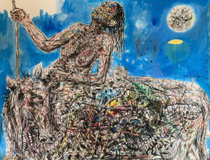 La bergère #1. 130x150cm. Pastel on paper by Salifou Lindou, contemporary artist founder of Kapsiki circle in Cameroon.