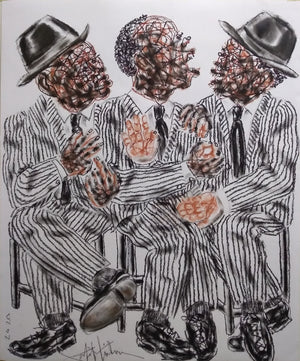 Politiciens #7, Salifou Lindou. 80x65 cm. Pastel on paper. Contemporary Cameroonian artwork for sale online.