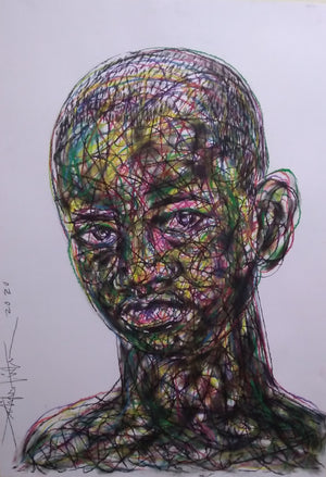 Portrait #1, Salifou Lindou. 100x65 cm. Pastel on paper. Contemporary Cameroonian artwork for sale online.