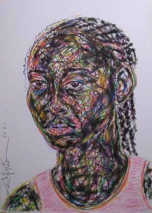 Portrait #3, Salifou Lindou. 100x65 cm. Pastel on paper. Contemporary Cameroonian artwork for sale online.