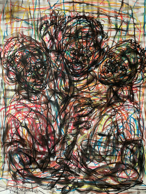 Conversation. 65x50cm. Pastel on paper by Salifou Lindou, contemporary artist from Cameroon. 1-54 New York 2020.