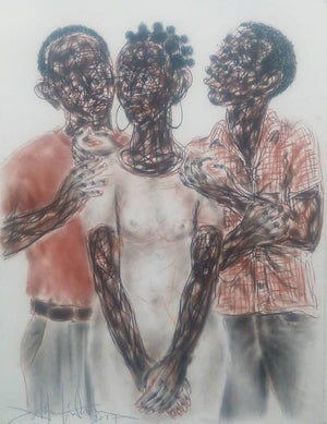 Le dilemme. 80x65cm. Pastel on paper by Salifou Lindou, contemporary artist from Cameroon. Purchase Artwork online on Afikaris.