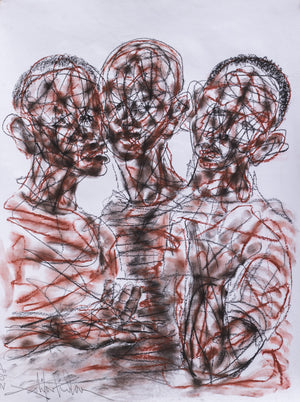 Les copains. 60x50cm. Pastel on paper by Salifou Lindou, contemporary artist from Cameroon. Purchase Artwork online on Afikaris.